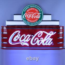 Wholesale lot 2 Neon signs Coca Cola Evergreen steel can Soda Fountain Machine