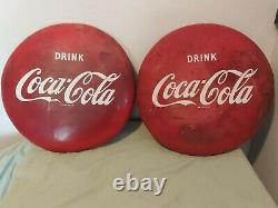 X2 VINTAGE 16 Drink COCA COLA BUTTON SIGN Lot X2 1950s